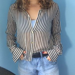 Black and white sheer striped top.